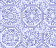 Persian Tile ~ Blue   ~ by PeacoquetteDesigns on Spoonflower ~ bespoke fabric, wallpaper, wall decals & gift wrap ~ Join PD  ~ https://www.Peacoquette.com  #Spoonflower #Peacoquette