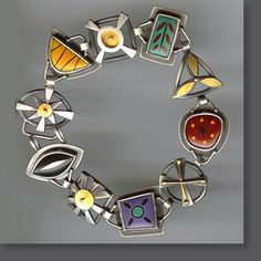 """DeKimberly Keyworth Bracelet with Charms Sterling silver, 22k gold, torch-fired enamel, 7.5"""" length"""