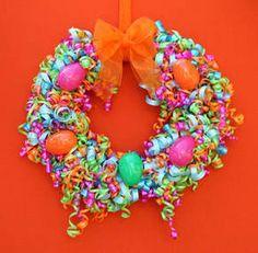 Cascade of Curls Easter Wreath | AllFreeKidsCrafts.com