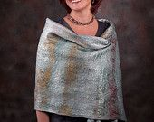 Felted Wool Blue Steel Waves Shawl