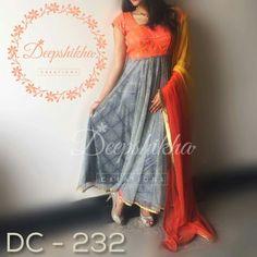 Deepshikha dress Sari Blouse Designs, Dress Neck Designs, Kurta Designs, Kids Dress Wear, Party Wear Dresses, Designer Anarkali Dresses, Designer Dresses, Indian Dresses, Indian Outfits
