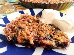 Glutenfri knäckig blåbärspaj   Glutenfria godsaker Cake Cookies, Grain Free, Goodies, Low Carb, Gluten Free, Sweets, Bread, Baking, Desserts