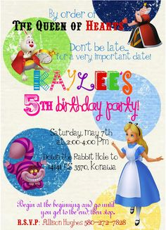 Kami Buchanan Custom Designs: Alice in Wonderland Invite
