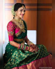 South indian blouse designs for a royal bridal look shaadisaga Lehenga Designs, Wedding Saree Blouse Designs, Half Saree Designs, Pattu Saree Blouse Designs, Blouse Designs Silk, Indian Bridal Sarees, Bridal Silk Saree, South Indian Bride Saree, Saree Wedding