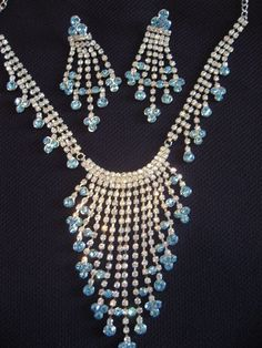 Bridal rhinestone and blue bridal modern necklace and earring set $24.99