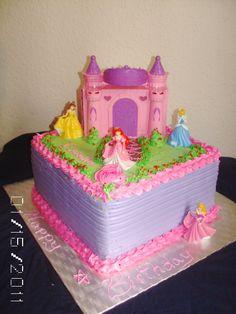Disney princess cake - all buttercream, the castle and princess are toys