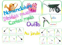 Cartes nomenclature, dictées muettes, mot-image sur la jardin: les outils.