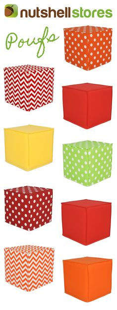 Fun, colorful outdoor poufs for your favorite lounging spot. Made in the USA.