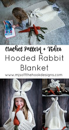 Crochet Afghan Ravelry: Hooded Woodland Rabbit Blanket pattern by MJ's Off The Hook Designs Crochet For Kids, Free Crochet, Crochet Baby Blanket Beginner, Crochet Rabbit, Easy Crochet Projects, Diy Projects, Afghan Crochet Patterns, Crochet Afghans, Baby Patterns