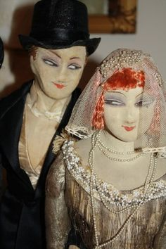 Chamois faced French boudoir dolls originally part of the Farago collection.