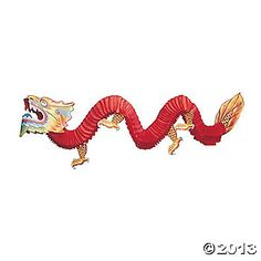 Fun Express Chinese Paper Dragon Decoration - 1 Piece *** Check this awesome image : Ornaments Home Decor Chinese New Year Party, Chinese Theme, New Years Party, Chinese Birthday, Party Props, Party Themes, Party Ideas, Theme Ideas, Chinese New Year Dragon