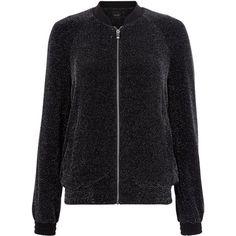 Black Glitter Bomber Jacket (465 MXN) ❤ liked on Polyvore featuring outerwear, jackets, glitter jacket, blouson jacket, flight jacket, bomber jacket and bomber style jacket