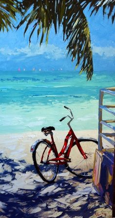 """Higgs Beach during Key West Race Week"" - by Peter Vey (Palette-knife painter) Bicycle Painting, Bicycle Art, Les Cascades, West Art, Tropical Art, Beach Print, Cycling Art, Beach Scenes, Key West"