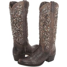 Frye Deborah Studded Tall (Grey) Cowboy Boots ($728) ❤ liked on Polyvore featuring shoes, boots, mid-calf boots, grey leather boots, tall cowboy boots, tall boots, tall grey boots and cowgirl boots