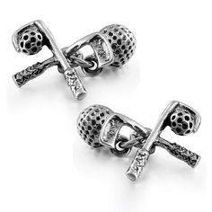 Bling 925 Sterling Silver Golf Ball And Club Cufflinks