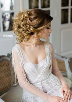 Breathtakingly classic curly updo wedding hairstyle; Featured Hairstyle: Elstile
