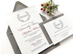Winter Wedding Invitations - Printed Grey and Burgundy With Wreath Wedding Invitation Suite - Holiday Wreath with Red Wedding Invitation - pinned by pin4etsy.com