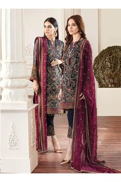 Buy Baroque Chantelle Embroidered Chiffon Collection – 01 - Rouge at YourLibaas. Shop online for Original Pakistani Party Wear Chiffon Suits. ✓ Cash On Delivery Pakistani Street Style, Pakistani Suits, Pakistani Dresses, Indian Dresses, Pakistani Couture, Punjabi Suits, Pakistani Clothing, Salwar Suits, Indian Outfits