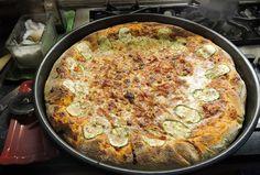 Prosciutto zucchini pizza