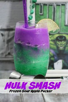 Hulk Smash Frozen Sour Apple Pucker, lol my Papi drink Frozen Sour Apple PuckerSour Apple Pucker (green in color) Raspberry Vodka Sweet and sour mix Grape juice ice Are you ready for this weekend? The long awaited Avengers: Age of Ultron is coming to the Candy Drinks, Kid Drinks, Liquor Drinks, Frozen Drinks, Summer Drinks, Cocktail Drinks, Bourbon Drinks, Beverages, Cool Drinks