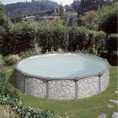 Kit piscine hors sol acier aspect pierre 5,50m x 1,32m
