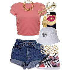 A fashion look from July 2015 featuring red shirt, jean shorts and set rings. Browse and shop related looks. Lit Outfits, Dope Outfits, Trendy Outfits, Summer Outfits, Urban Fashion, Teen Fashion, Fashion Outfits, Womens Fashion, Fashion Trends