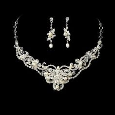 Silver Ivory Pearl Rhinestone Bridal Wedding Necklace Earring Set $79.99 #topseller