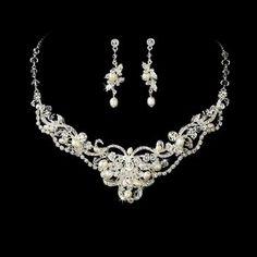 Silver Ivory Pearl Rhinestone Bridal Wedding Necklace Earring Set $79.99 #topseller