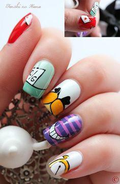 Love Nails, How To Do Nails, Pretty Nails, Fun Nails, Disney Nail Designs, Cool Nail Designs, Alice In Wonderland Nails, Striped Nails, Disney Nails
