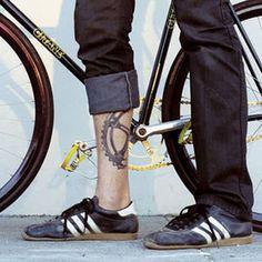 Adidas Samba and bike/gear tattoo; Cycling Tattoo, Bicycle Tattoo, Bicycle Art, Bicycle Safety, Bicycle Wheel, Gear Tattoo, Bike Tattoos, Leg Tattoos, Tatoos