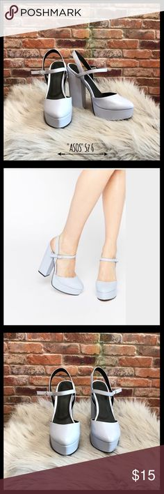 "ASOS Pastel Prosper Platforms ASOS pastel prosper platforms in a size 6.  Periwinkle blue with adjustable ankle straps.  Base platform is 1 1/2"" and heel is 6"".  There are  a few indentations on the top of both shoes, from another pair of shoes that were in my closet.  A couple of small scuffs, see photos.  Only worn a couple of times, as you can tell by the soles and the insides of the shoes are in great condition. Asos Shoes Platforms"