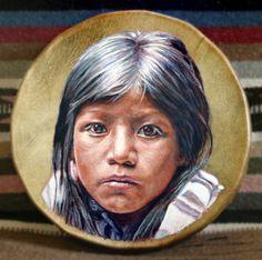 Handmade Hand Painted Native American Style Drum - PUEBLO GIRL
