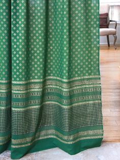 The Empress's Emeralds ~ Indian Inspired Green and Gold Curtain