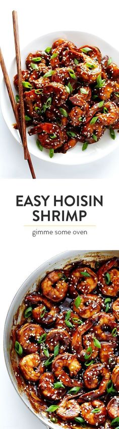 Easy Hoisin Shrimp -- made with a simple 3-ingredient sauce, and ready to go in 15 minutes! #chinesefoodrecipes