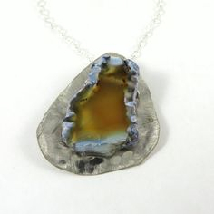 Sterling Silver Necklace with Agate Slice by HCJewelrybyRose, $75.00