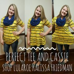 """Nothing beats a comfortable Perfect Tee for any size, shape, and age! Can you believe the """"scarf"""" is actually a cassie skirt #perfecttee #lularoecassie #lularoeperfecttee #lularoecassie #cassie #scarf #cassieasscarf #luladdict #kalissalularoe #lularoe Join my group! https://www.facebook.com/groups/322758231438613/"""