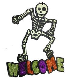 """Glow In The Dark Glitter Skeleton 'Welcome' Halloween Décor 14in High x 12in Wide by China. $4.99. Hangable by craft wire. Compressed wood fiber with black matte finish. 14"""" High x 12"""" Wide. Glow In The Dark Glitter. Glow In The Dark Glitter Skeleton """"Welcome"""" Halloween Décor, 14"""" High x 12"""" Wide: Front covered with various color glitter, Compressed wood fiber with black matte finish. Hangable by craft wire. Measures 14"""" High x 12"""" Wide"""