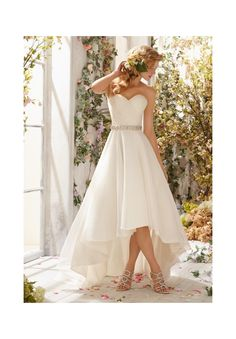 6772 Wedding Gowns / Dresses 6772 Organza Hi-Lo Gown- Shown with Crystal Beaded Satin Belt