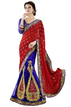 The charm and exquisiteness of this ravishing Embroidered Lehenga style red chiffon,velvet and net saree is beautified with resham, zari and golden print. With accentuated patch border, it comes with a royal blue art dupion silk blouse. Lehenga Style Saree, Net Saree, Red Chiffon, Chiffon Saree, Blue Red Wedding, Indian Wedding Lehenga, Indian Weddings, Sarees Online India, Latest Sarees