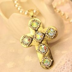 $8.75 Retro Sweet Style Rhinestoned Cross Pendant Faux Pearl Sweater Chain Necklace For Women