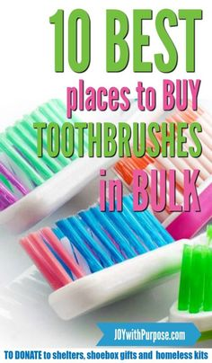 Here are the top 10 places to buy toothbrushes in bulk. Perfect to donate to shelters, military and shoebox charities including Operation Christmas Child. Christmas Child Shoebox Ideas, Operation Christmas Child Shoebox, Kids Christmas, Christmas Crafts, Easy Crafts, Crafts For Kids, Geek Crafts, Operation Shoebox, Samaritan's Purse