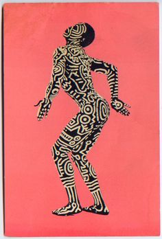 Postcard by Keith Haring.  I like the bold, solid color background with the strong figure silhouette in center.  Maybe words inside their bodies?  I dunno!