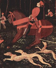 Horse and rider with dogs. Detail from Paolo Uccello's Hunt in the Forest (by night), c. 1460. Tempera on Wood. Ashmolean Museum, Oxford.