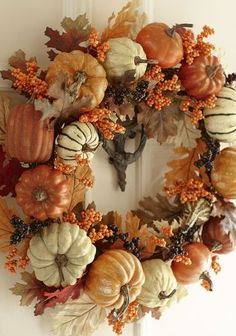 Fall Pumpkin Wreath using faux pumpkins in orange and white with faux leaves. Simple and pretty. by elsie Thanksgiving Wreaths, Autumn Wreaths, Thanksgiving Decorations, Holiday Wreaths, Harvest Decorations, Wreath Fall, Spring Wreaths, Summer Wreath, Faux Pumpkins