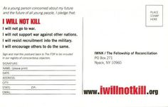 Back of Fellowship of Reconciliation I Will NOT Kill Counter-Recruitment Post Card