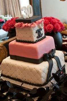 Coco Chanel Birthday Party cake! See more party planning ideas at CatchMyParty.com!