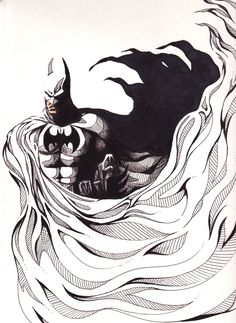 """eatsleepdraw: """"The Batman"""" in ink and colored pencil on Bristol 2012"""