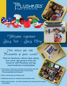 Know any teachers with a class of small children? Help spread the word on our #Giveaway #Contest for #TEACHERS. Winner gets a set of Plushkies #educational #toys and discounts for their #students #kids