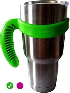 EasyShopForEveryone Handle for YETI Rambler 30 oz Tumblers Ozark Trail SIC Cup Beast Magnum Tumbler and more, Great Grip Durable Quality Solid Plastic Perfect for Car Cup Holder (Green)