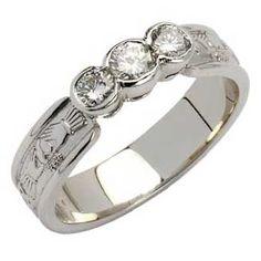 Claddagh Ring Wedding Set Karat Heart Diamond 3 4 Karat